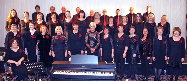 The choir with musical director Eithne Corrigan