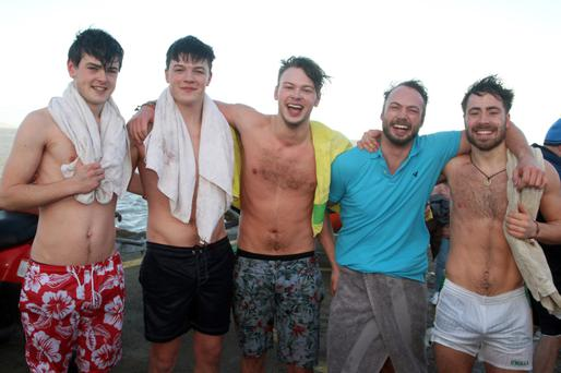 Joe Rogan, Ben Hoff, Conor Rath, Gearóid Rath and Peter Peterson at the Cahore Inshore Rescue swim