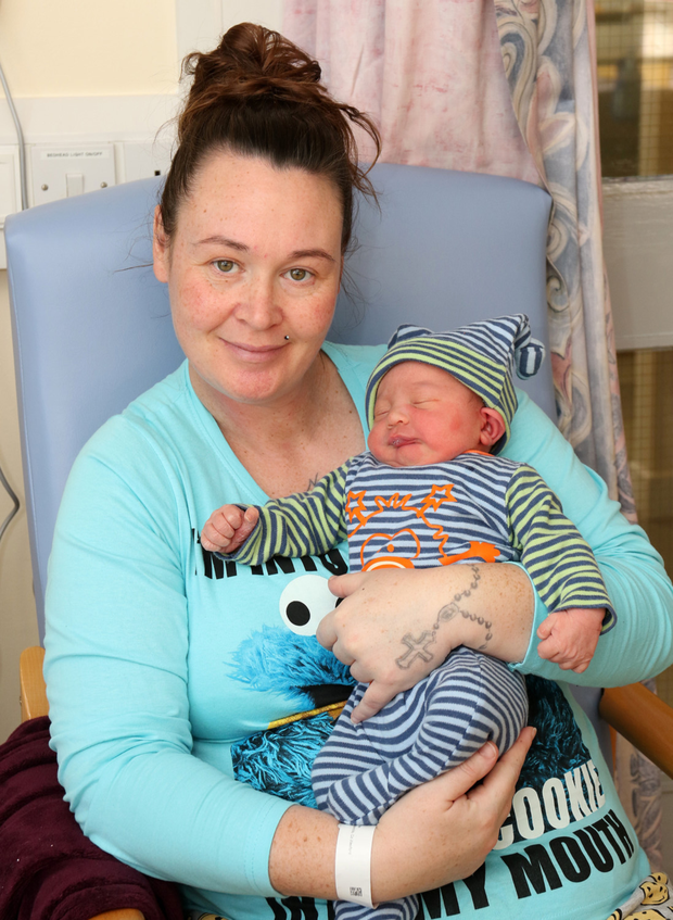 Mum Jennifer O'Brien from Clongeen with baby Rhys who was born at 7.31am on New Year's Day
