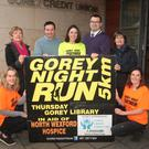 At the launch of Gorey Night Run: Marie Hegarty, NWHNT chairperson, Marian Deering, Cllr John Hegarty, Paula Finn, Tom Brennan, Gorey Credit Union, Cecily Jones, NWHNT, and Mary Furney