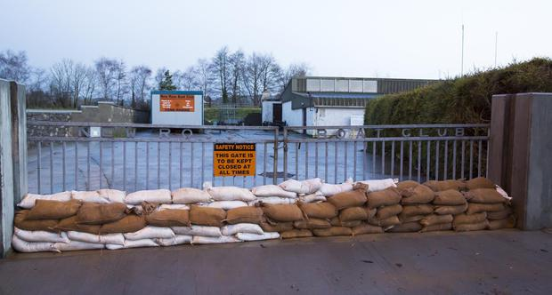 Sandbags stacked up in preparation for Storm Eleanor at New Ross Boat Club