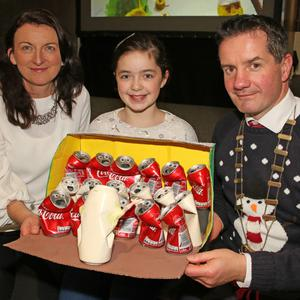 "People's Choice award winner and Overall Individual Primary School winner, Laura Kehoe (Ballyellis Ns) and her decoration 'I ""Can"" Sing Choir', with Cliona Connolly, Wexford County Council, and Cllr John Hegarty"