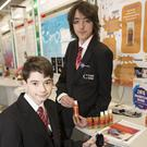 Brandon Paisley and Sam Walsh from Creagh College, Gorey, with their project 'Dia-beating Hypos'