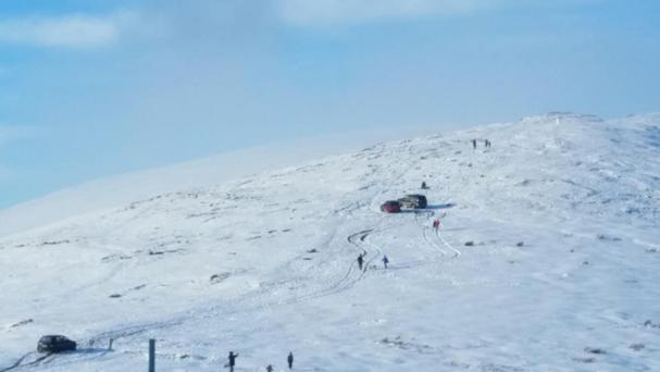 Snow-covered slopes of Mount Leinster