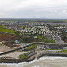 An aerial photo of the dredging works at Courtown Pier. Photo: Páid Bates of Skypix.ie