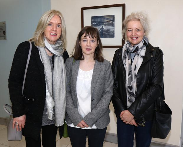 Artist Eilish McCann, centre, with Marianna Murphy and Breda Stacey
