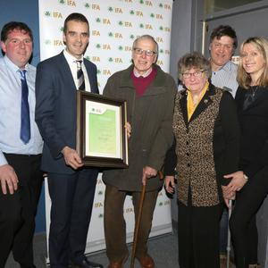 James Kehoe, chairperson, Wexford IFA,Joe Healy, national president, IFA; George Williamson from Ambrosetown, Duncormick with his wife Nual, son Ken and daughter Evelyn. George was presented with honorary life membership of the IFA