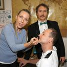 Cast members of Bunclody/Kilmyshall Drama Group's production of Rumours, Margaret Farrell, Paul Doran and Pádraig D'Arcy