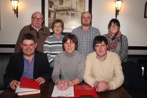 The outgoing committee of Gorey Agricultural Show,front: chairman Morgan O'Connor, secretary Stella Jones and joint treasurer David Grandy. Back: vice president Lorcan Allen, joint treasurer Zilpha Furney vice chairman, Ewan Johnston and assistant secretary Ashley O'Connor