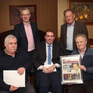 Gorey Guardian reporter Fintan Lambe at his farewell party with, at back, Michael Ryan, Managing Director, INM Regionals, Ireland East, and Gerry Lennon, INM Commercial Director; and, at front, David Tucker, News Editor, People Newspapers, and Jim Hayes, Editor, People Newspapers