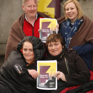 At the launch of Focus Ireland's 'Big Gorey Sleep Out' taking place on March 23: front, Niamh O' Leary with her mother and south-east region fundraiser, Cathryn O'Leary, and back, Dave Redmond and Rev. Cheryl Patterson