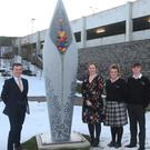 Pictured beside, 'Seeds of Wonder' by visual artist, Alan Counihan was principal, Paul Glynn, arts teacher, Mary Andrews, Chloe Flanagan, Caolan Manley and arts teacher, Roisin Ruth