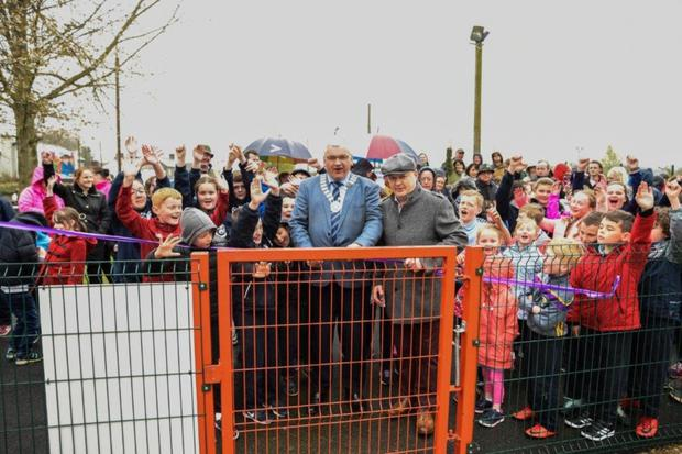 Cathaoirleach of Gorey Municipal District Cllr Joe Sullivan and Chairman of Camolin Community Development Association Jack Redmond cut the ribbon to Little Lucy's Playground. Picture: Brian McDonald, Wexford County Council