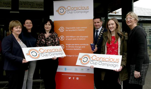 At the launch of the Conscious Cup Campaign inThe Irish National Heritage Park, from left: Cllr Barbara Ann Murphy, Cliona Connolly (Wexford County Council), Sorcha Kavanagh (Conscious Cup Campaign), Co Council Chairman John Hegarty, Nadya Doyle (Climate Ambassador, CBS New Ross) and Maura Bell (Irish National Heritage Park)