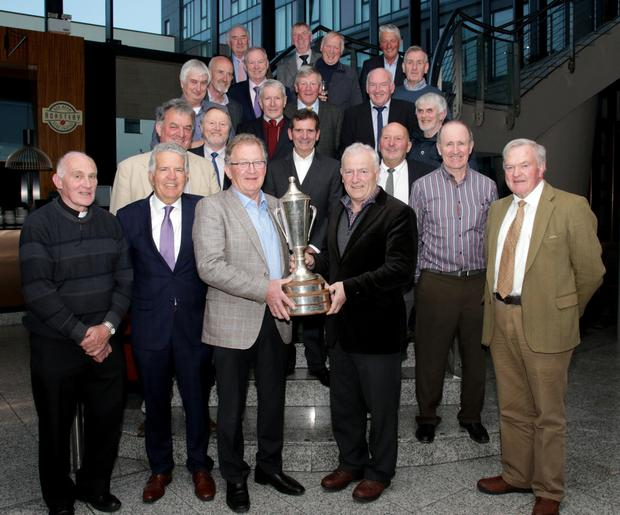 Members of the St Peter's All Ireland winning team of 1967/'68 with captains Paddy Breen from Campile and Paddy Bierney from Ferns, at the reunion