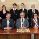 At the civic reception for the Mayor of Bayeux at Civic Buildings in Gorey were, front row: Madame Martine Gomont, Mayor of Bayeux Patrick Gomont, Cathaoirlach, Cllr Joe Sullivan, Bayeux deputy Mayor Madame Christine Cabon-Delacroix, Cllr. Pip Breen and district manager, Amanda Byrne. Back row: Creagh College teacher Sarah Donavan, teacher Megan Tomkins, Creagh College students Eoin Fitzpatrick and Daniel Murphy, NWHS vice chairman, Willie Willloughby, Gorey Community School student Eabha Cahill and Gorey Youth Needs' Mandi Tighe