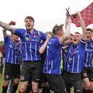 The Gorey Rangers team celebrating after beating Enniscorthy's Shamrock Rovers
