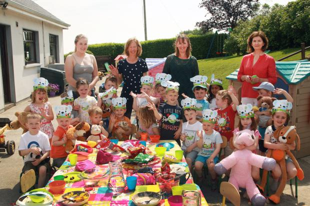 Children of Patricia's Preschool on their Teddy Bears Picnic for Barnardos with (back, from left): Christine Maher, who is on work experience; proprietor, Patrica Byrne; and staff members Helen Gregan and Ina Keighley