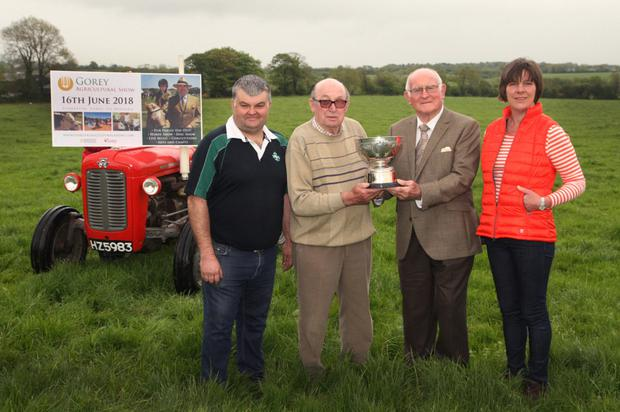 All set for Gorey Agricultural Show at Clonattin on June 16: chairman, William Cecil, president, Lorcan Allen, David Bolger with the 'Moore Cup' dated 1894 that he recently uncovered and Stella Jones, secretary