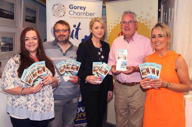 At the launch of the Little Book of North Wexford at Gorey Visitors'Centre were centre manager Karen O'Raw, Sean O'Reilly, Catherine Murphy, Gorey Chamber CEO Diarmuid Devereux and Gorey Chamber vice president Sinead O'Sullivan