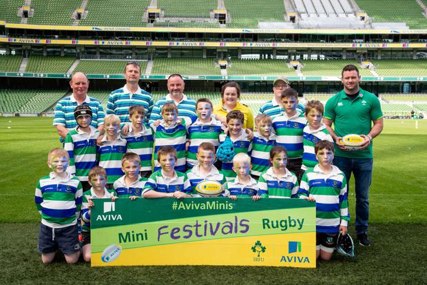 The Gorey RFC under-10 boys' team in the Aviva Stadium