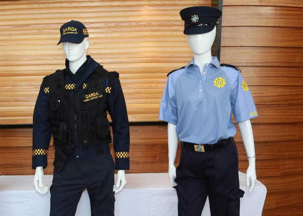 The new Garda summer uniform (right) which will be piloted in Bunclody