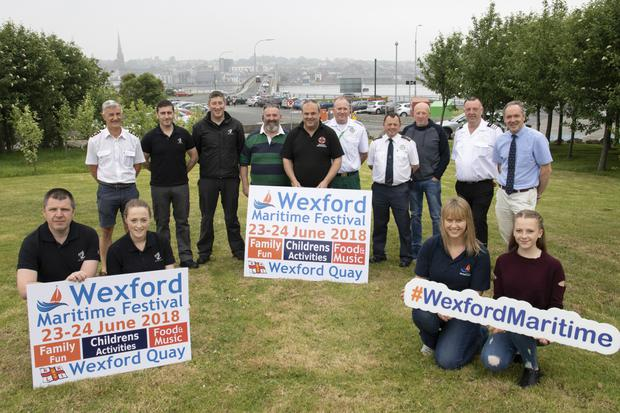 Committee members of the Wexford Maritime Festival and members of Wexford RNLI at the festival launch in Ferrybank
