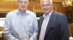 Fianna Fail Agricultural Forum to discuss The Crisis in Farming in the Horse and Hound. From left; Patrick Kent ICSA National president and Sen Paul Daly speaker.Photo;Mary Browne