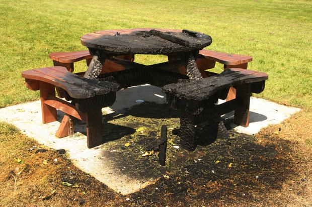 The garden bench set on fire in Gorey Town Park