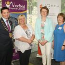Cllr John Hegarty, Cllr Mary Farrell, Cllr Kathleen Codd Nolan, Cllr Barbara-Anne Murphy and James Browne TD at the launch of the Hatch Lab in Gorey