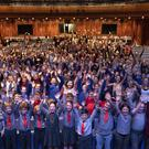 Children from Bunscoil Loreto, Gorey, Oylegate National School, Danescastle National School, and Scoil Eoin Baiste, Galbally, Enniscorthy, taking part in the singing workshop at the National Opera House