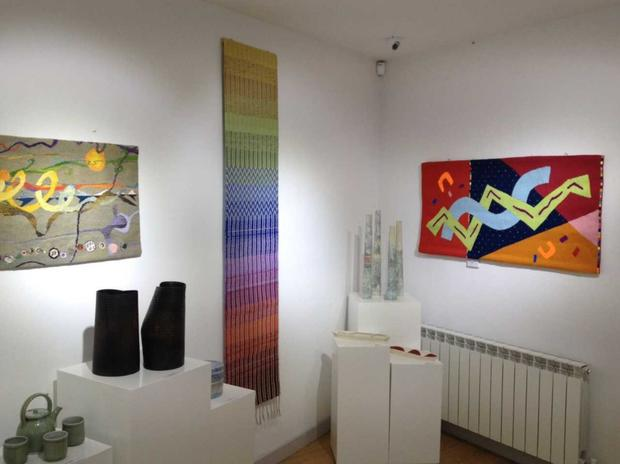 Textile work on display at the Blue Egg Gallery