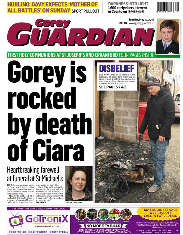 The front page of the Gorey Guardian from May 15
