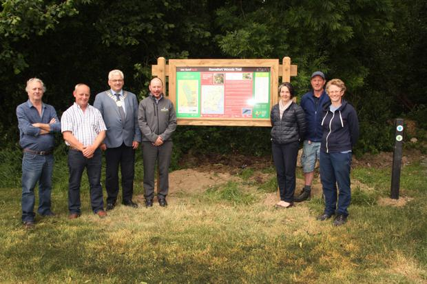 At the launch of the Ramsfort Wood walking trails were Miley Finn, contractor Willie Hayden, Cllr Joe Sullivan, Pat Neville, Coillte; Amanda Byrne, area manager; Dermot Doran and Maura Higgins, Wexford County Council