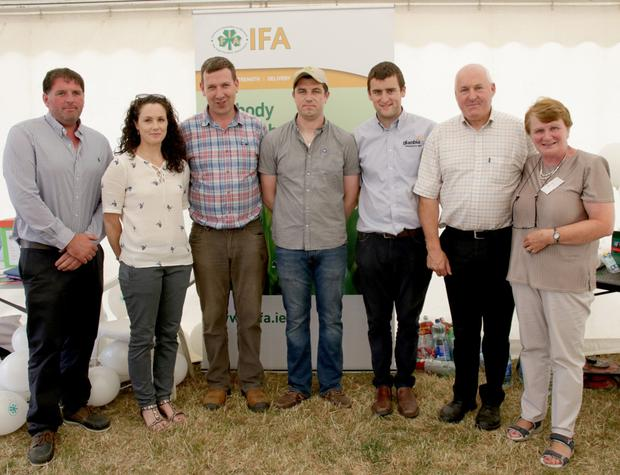 IFA county chairman James Kehoe, Maeve Furlong, David Curran, James Scallan, Joe Kehoe, Denis Kehoe and Alice Doyle at the IFA stand at the Bannow Rathangan Show last Thursday