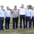 Local farmers with IFA national president Joe Healey and Wexford IFA chairman James Kehoe in Ballymurn last Thursday