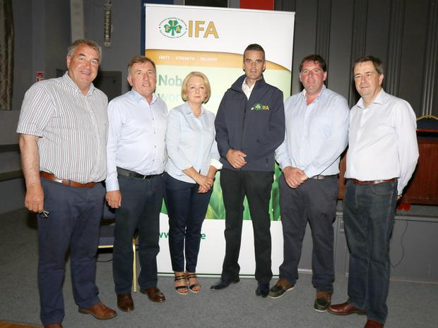 South Leinster regional chairman Tom Short, national development officer Joe Brody, Wexford IFA vice-chairperson Edel Gahan, national president Joe Healey, Wexford chairman James Kehoe and director general Damien McDonald