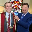 Mr Kenneth Mealy with the outgoing President Professor John Hyland