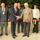 Pat Neville of Coillte, Cllr Martin Murphy, Minister Paul Kehoe, Charles Burke of Coillte, Pat Caulfield, Breda Lynch, OPW, Aileen Dowling, Fáilte Ireland and Eamon Hore, Director of Services with Wexford County Council at the opening of the Tintern Trails