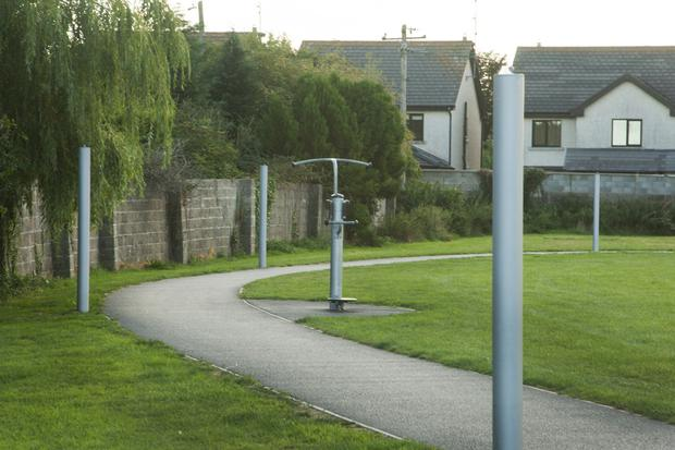 Lamp posts in Gorey Town Park missing their lights which have been smashed by vandals