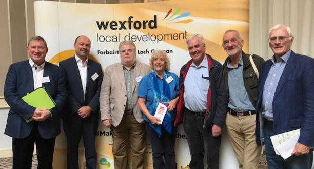 Lawrence Wrenne, Regional Drugs and Alcohol Task Force chairman; Brian Kehoe, Wexford Local Development CEO; Paul Delaney, Cornmarket Project; Breda DeGaye, Wexford Drugs Family Support Service; Father Peter McVerry; Tony Geoghegan, Merchants Quay Ireland; and conference chairman, Declan McPartlin