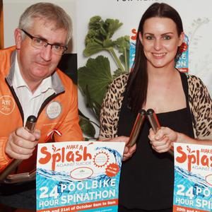 Pictured at the launch of the 24-hour poolbike spinathon at Club Ashdown in the Ashdown Park Hotel in support of Cycle Against Suicide were Cycle Against Suicide ambassador Joe Dixon, group spa leisure manager Orla Kenny and club fitness instructor Chris Sheridan
