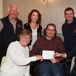 Presentations to retired Gorey Guardian journalist Fintan Lambe from various South Wicklow groups: (from left) Eamonn and Mary Doran, Lorna Doran McEvoy, Kevin McEvoy and Cathy Tighe make a presentation to Fintan Lambe for his support throughout the years