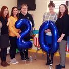 Craanford Monaseed playschool committee members celebrating the school's 20th anniversary, Eve Byrne, Ann O'Brien, Niamh Doyle, Liz Kavanagh, Sue Kavanagh, Catherine O'Brien, Eithne Dempsey and Maeve Roberts