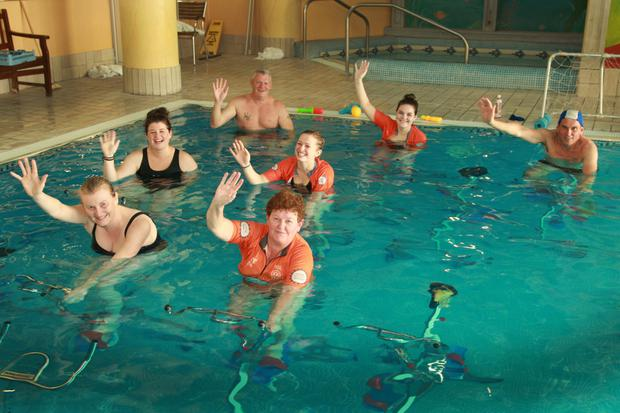 The 24-hour poolbike spinathon in support of Cycle Against Suicide at the Ashdown Park Hotel