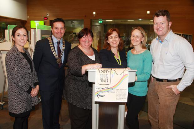 Mandi Tighe, Gorey Youth Needs; cathaoirleach of Gorey Municipal District, Cllr John Hegerty; Karen McCann, Gorey Youth Needs; Dearbhla Ni Laighin, executive librarian; Sheila Barrey, CYPSC; and Cllr Malcolm Byrne at the launch in Gorey Library