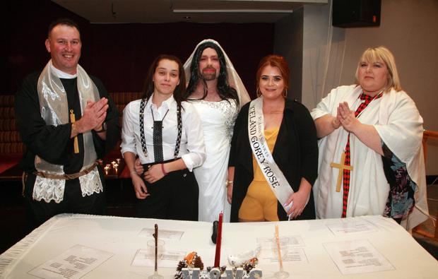 'Fr' Jim Donohoe with the happy couple, Hannah O'Neill and Mark Keenan, Miss Iceland, Cody Sibley and 'Rev' Tina Fortune
