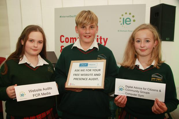 Aoife Commins, Kyle Slator and Ami Popplewell from Gorey Community School