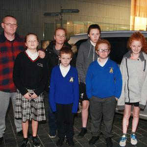 Gary and Rhona Breen pictured with their children, Jody, Keith, Holly, Gary and Caithlin at Gorey Civic Square