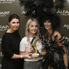Joan Jordan from Alfaparf Milano, stylist Hannah Kavanagh from Black Amber Salon and model Beck Ali at the Alfaparf Milano Fantastic Hairdresser Awards